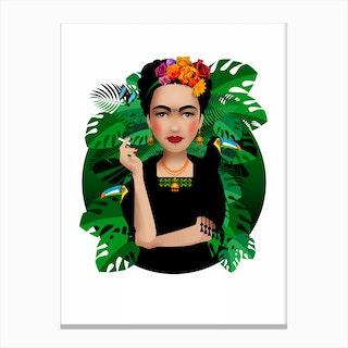 Frida Kahlo White Canvas Print