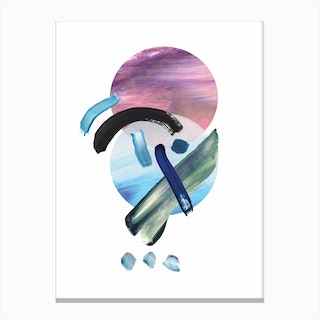 Mixed Watercolour Abstract Pink and Blue Canvas Print