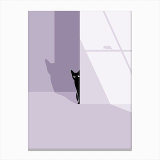 Cat In The Shadow Canvas Print