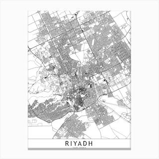 Riyadh White Map Canvas Print