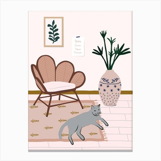 Cat At Home Canvas Print