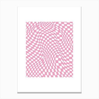 Checkerboard Pastel Pink Canvas Print