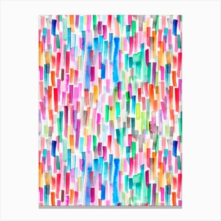 Colorful Brushstrokes Multicolored Canvas Print