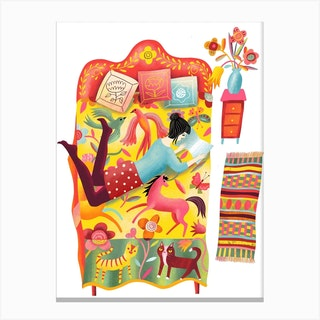 Girl Reading On Quilt Bed Canvas Print