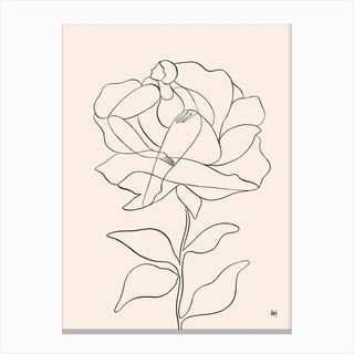 Flower Line Canvas Print