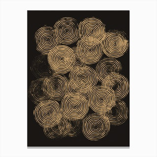 Radial Block Print In Charcoal And Gold Canvas Print