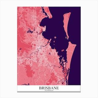 Brisbane Pink Purple Map Canvas Print