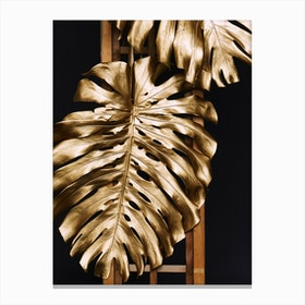 Gold Monstera Leaves Canvas Print