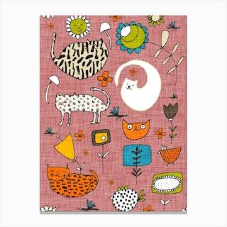 Spring Cat Pink Canvas Print