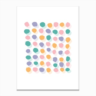 Abstract Pink and Orange Rectangle Paint Dots Canvas Print