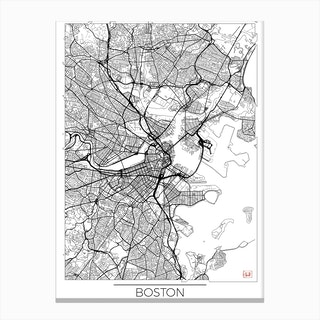 Boston Map Minimal Canvas Print