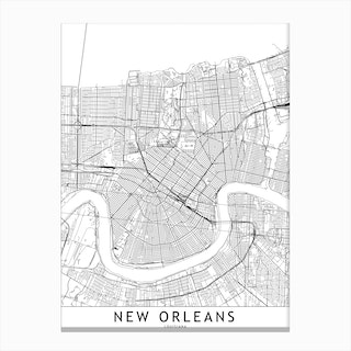 New Orleans White Map Canvas Print