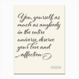 Buddha Quote on Loving Oneself Canvas Print