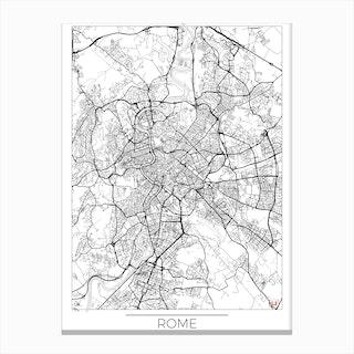 Rome Map Minimal Canvas Print