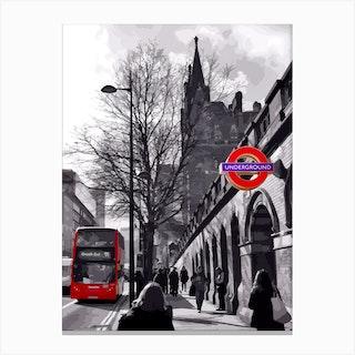 Red Splash Of London Canvas Print