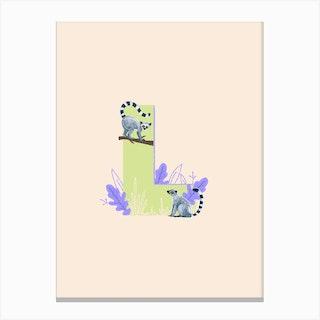 Letter L Lemur Canvas Print