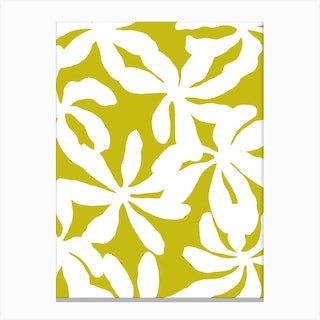 Golden Shadows In Chartreuse Canvas Print