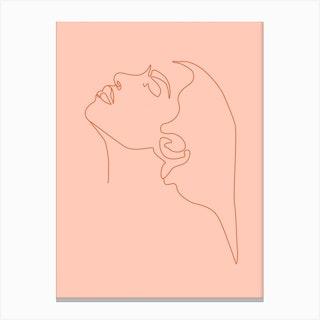 Magnetic Minimal Line Portrait Canvas Print