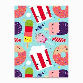 Ice Cream And Sweets Kawaii Pattern Canvas Print