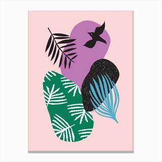 Tropical Bird in Pink Canvas Print