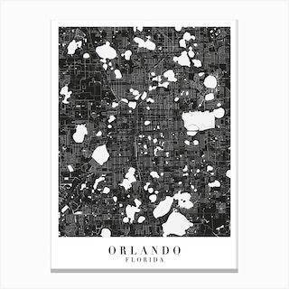 Orlando Florida Minimal Black Mono Street Map Canvas Print