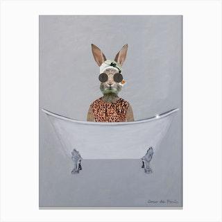 Vintage Rabbit In Bathtub Canvas Print