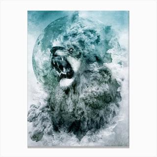 Lion Blue Canvas Print