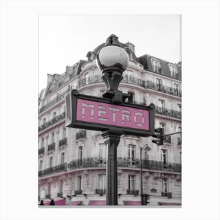 Black & White Pink Metro Canvas Print