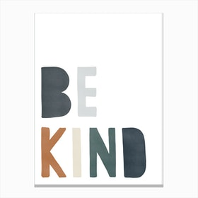 Be Kind Quote  Navy & Brown Canvas Print