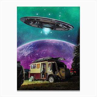 Camper Moon Paint Canvas Print