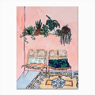 Interior With Napping Ginger Cat On Pink Canvas Print