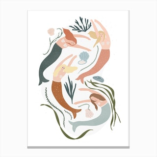 Little Mermaids Kids Decor Canvas Print