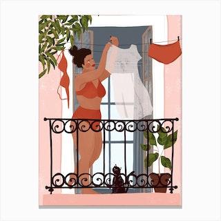 Laundry Girl Canvas Print