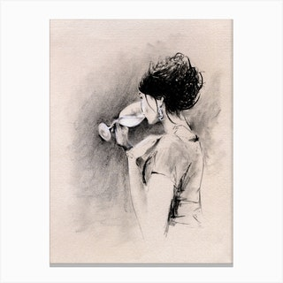 Woman With Wine Illustration Canvas Print