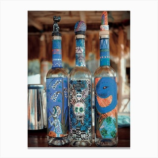 Artsy Tequila Bottles On Isla Holbox Mexico Canvas Print