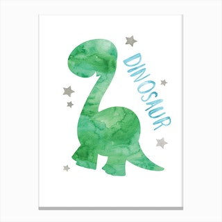 Green Dinosaur Canvas Print
