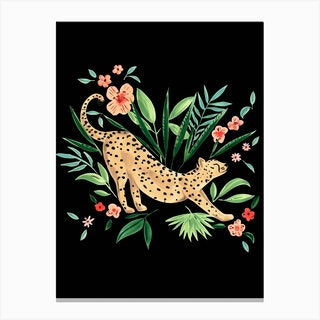 Cheetah 1 Black Canvas Print