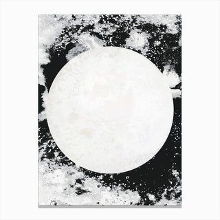 Moon Black White Canvas Print
