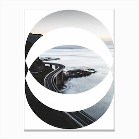 Oval Black Road Abstract Canvas Print