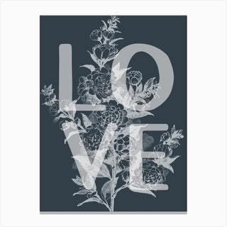 Love Floral Vintage Inspired Typography Canvas Print