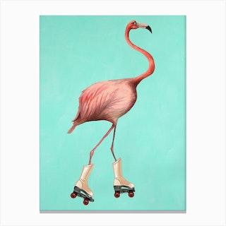 Rollerskate Flamingo Canvas Print