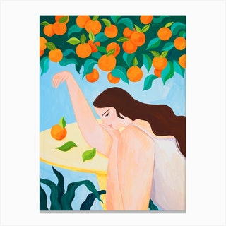 Under The Orange Tree Canvas Print