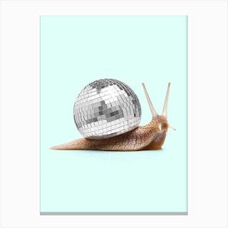 Disco Snail Square Canvas Print