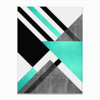 Foldings In Turquoise Canvas Print