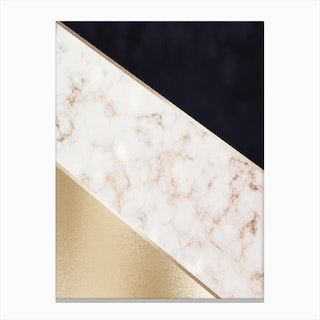Mixed Gold Marble and Dark Blue Abstract With Gold Trim Canvas Print