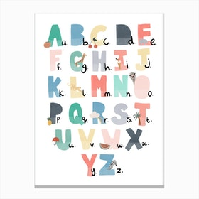 Illustrated Alphabet Chart  Rainbow Colours Canvas Print