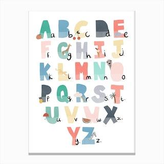 Illustrated Alphabet Chart  Rainbow Colours Canvas Print