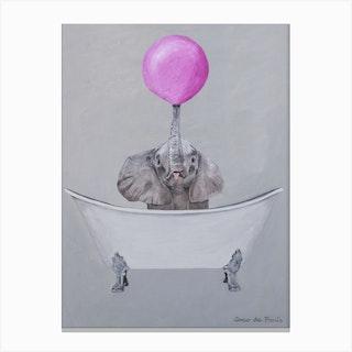 Elephant With Bubblegum In Bathtub Canvas Print
