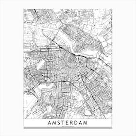 Amsterdam White Map Canvas Print