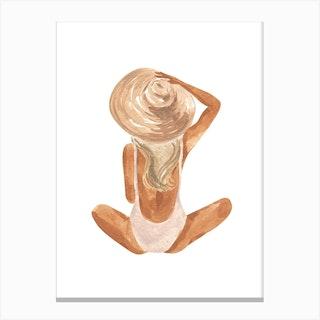 Beach Girl Blonde Canvas Print
